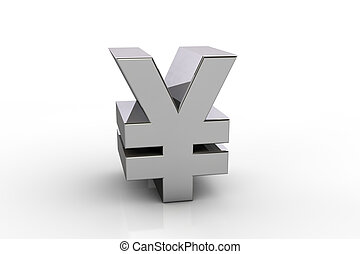 3D yen currency symbol,  over white background