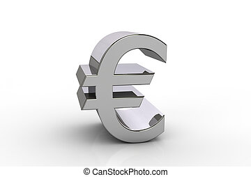 3D euro currency symbol,  over white background