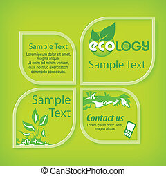 Ecological green banners with section for text, vector...