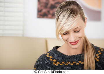 Smiling and shy beautiful blond woman portrait - Smiling and...