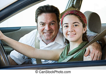 Driving with Dad - Teen girl gets driving lessons from her...