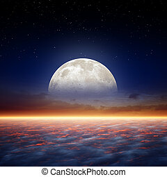 Full moon rise - Glowing horizon, full moon rise, stars in...