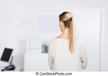 Long blond hair - Rear view portrait of a long blond hair...