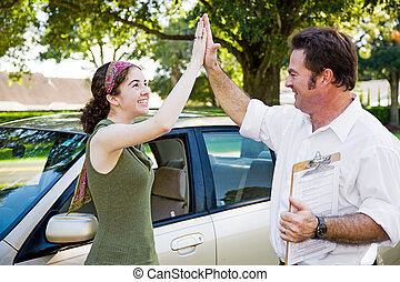 High Five - Ready to Drive - Teen girl passes driving test...