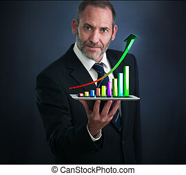 Mobile finance and statistics analytics - Businessman with...