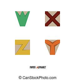 W X Y Z - Paper Alphabet