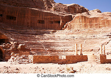 theater in rock city Petra - this is the ancient theater in...