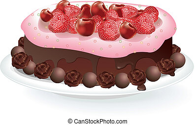 Fruit Chocolate Cake vector