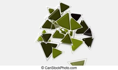 green plastic triangles card mosaics flying,abstract math geometry.