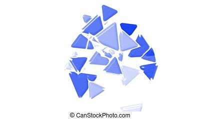 blue plastic triangles card mosaics flying,abstract math geometry.