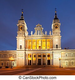 La Almudena cathedral in twilight time Madrid, Spain