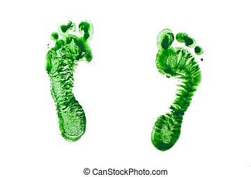 Green prints of children's feet isolated on a white...