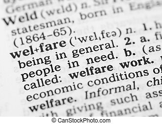 Macro image of dictionary definition of welfare