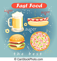 Set of food and drink fast food - Colorful set of fast food...