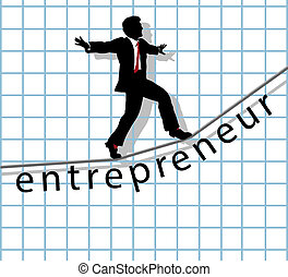 Entrepreneur on tightrope start up success