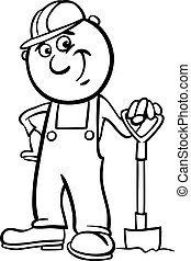 worker with spade coloring page
