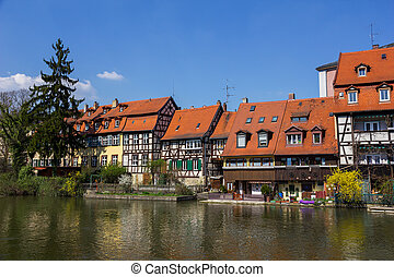 Bamberg, Germany. - Medieval half-timbered houses on a bank...