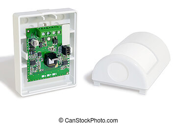 Motion sensor alarm - The motion sensor alarm on a white...