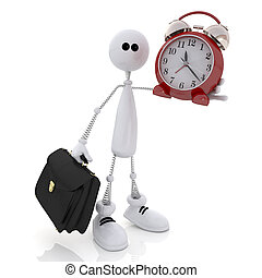 The 3D little man with hours and a portfolio. - The white...