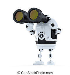 Robot looking through binoculars. Searching concept....