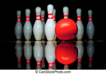 Ten bowling pins and ball - Ten bowling pins and bowling...