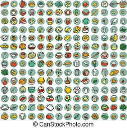 Collection of 196 food and kitchen doodled icons vignette...