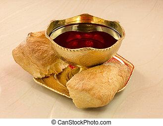dorado, cáliz, rojo, vino, bread, roto,...