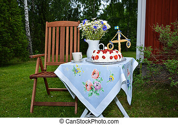 Small midsummer table - Small table with coffee cup, flowers...