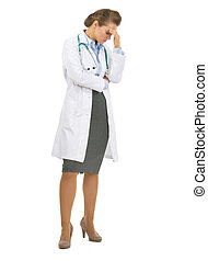 Full length portrait of concerned doctor woman