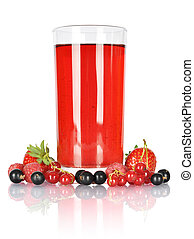 Glass og juice with fresh berries isolated on white....