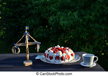 Midsummer cake - Strawberry cake and small may pole...