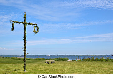 May pole - A may pole at coast in Sweden. Symbol for...