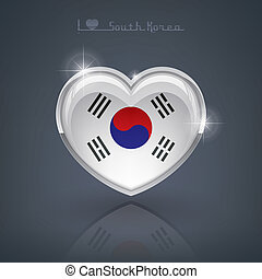 South Korea - Glossy heart shape flags of the Worlds:...