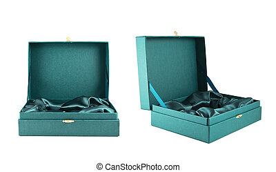 Green silk case box isolated - Opened green silk case box...