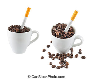 Cigarette in a cup full of coffee