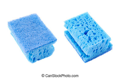 Kitchen sponge front and back view - Kitchen blue sponge...
