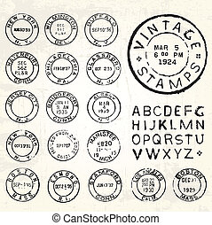 Vector Vintage Stamp Set. All pieces are separated and easy...