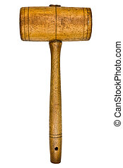 vintage mallet - vintage wooden mallet isolated over white...
