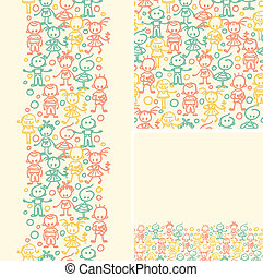 Doodle happy children seamless pattern background - Vector...