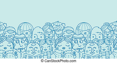 People in a crowd horizontal seamless pattern background...