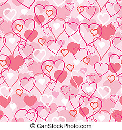 Valentines Day hearts seamless pattern background - Vector...
