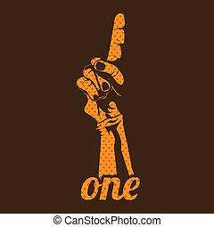 one number over brown background vector illustration
