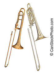 trombone isolated under the white background