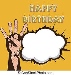 happy birthday design - happy birthday deign over yellow...