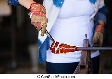 mujer, Soplador de vidrio