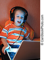Young gamer with headphon