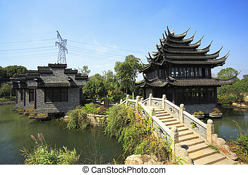 Ancient buildings in the Chinese garden