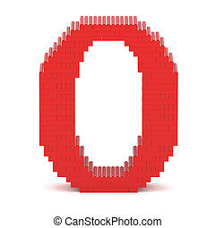 Letter O built from toy bricks - Letter O built from red toy...