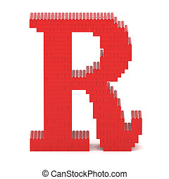 Letter R built from toy bricks - Letter R built from red toy...