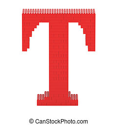 Letter T built from toy bricks - Letter T built from red toy...